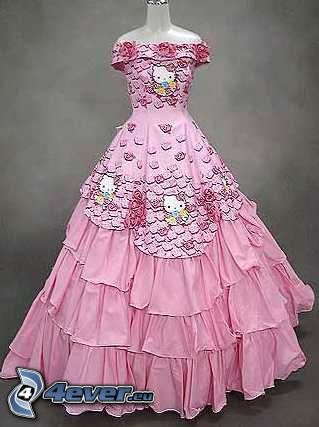 vestido de color rosa, Hello Kitty