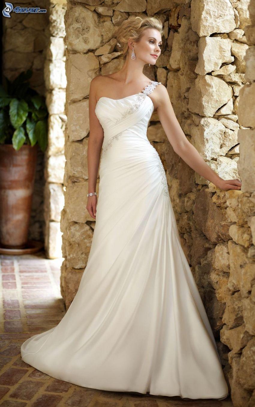 vestido de novia, novia, muro de piedra