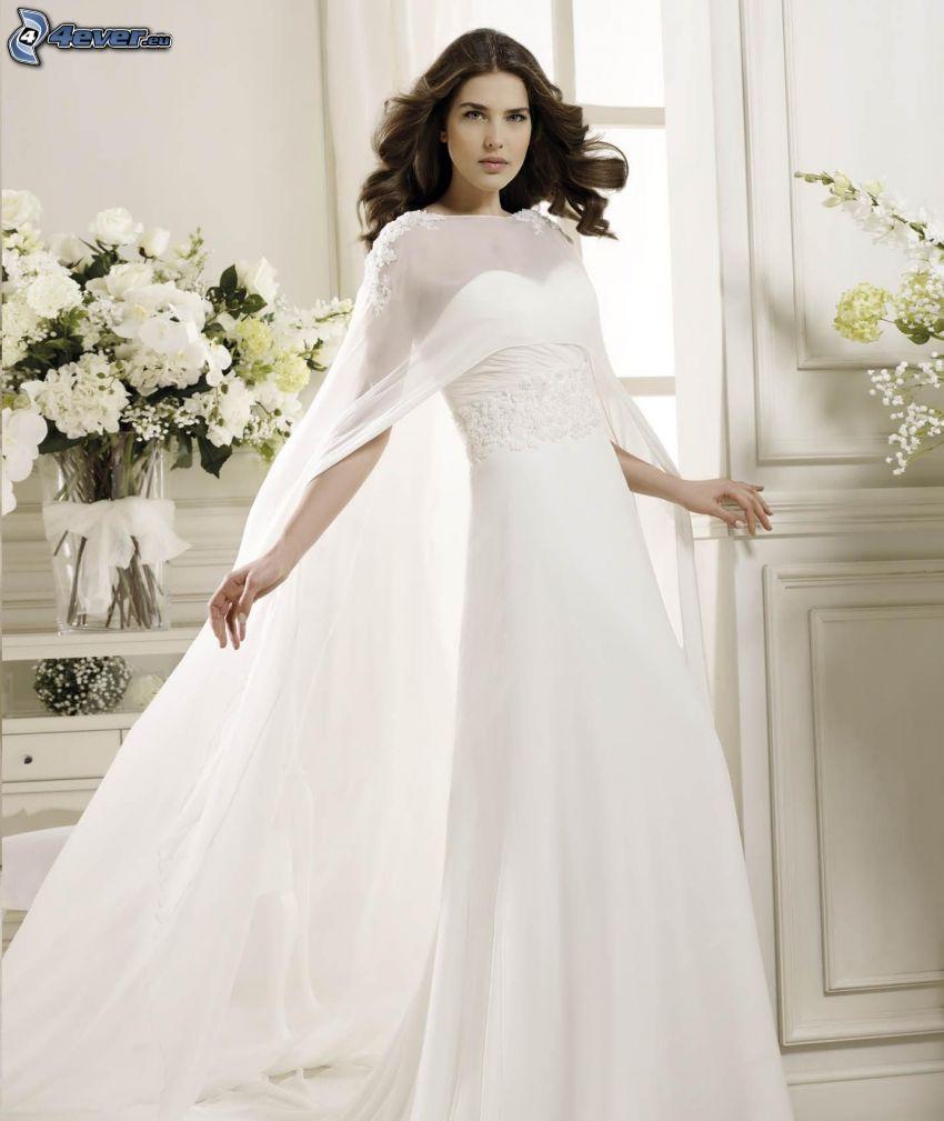 vestido de novia, novia, ramo