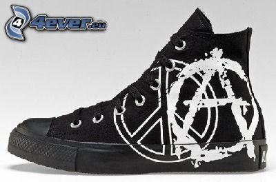 zapatilla de deporte negra, zapatos, zapato, anarquía