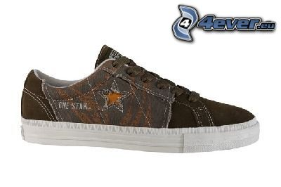 zapatilla de deporte negra, zapatos, zapato, estrella, one star