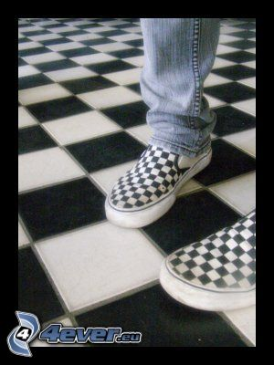 zapatillas, tablero de ajedrez, pies