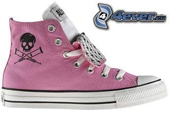 zapatillas de color rosa, zapatillas con el cráneo