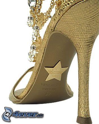 zapato, tacón, estrella, joya