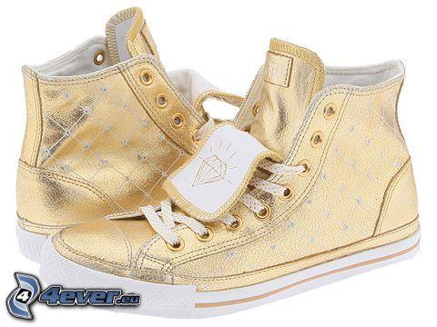 zapatos deportivos, oro, diamante