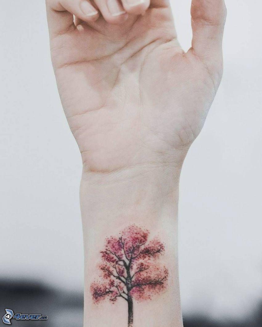 tatuaje, árbol, muñeca de la mano