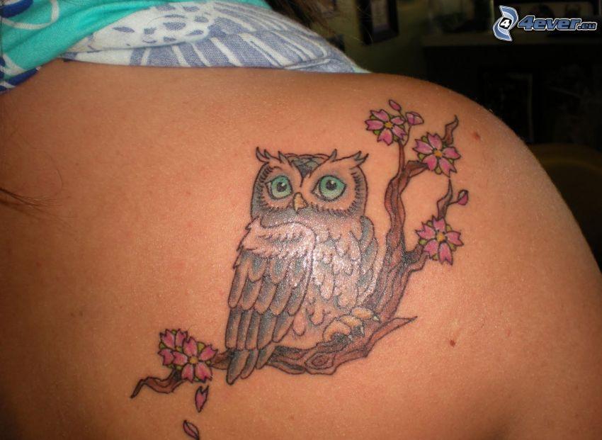 tatuaje, búho, ramita