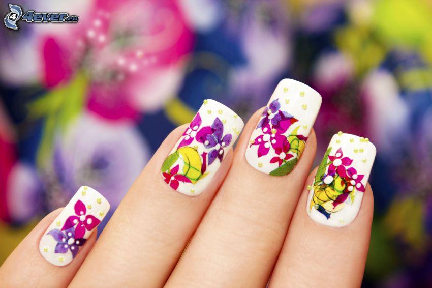 uñas pintadas, colores, flores