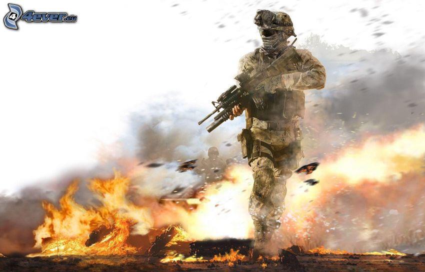 Call of Duty, soldado, explosión, fuego
