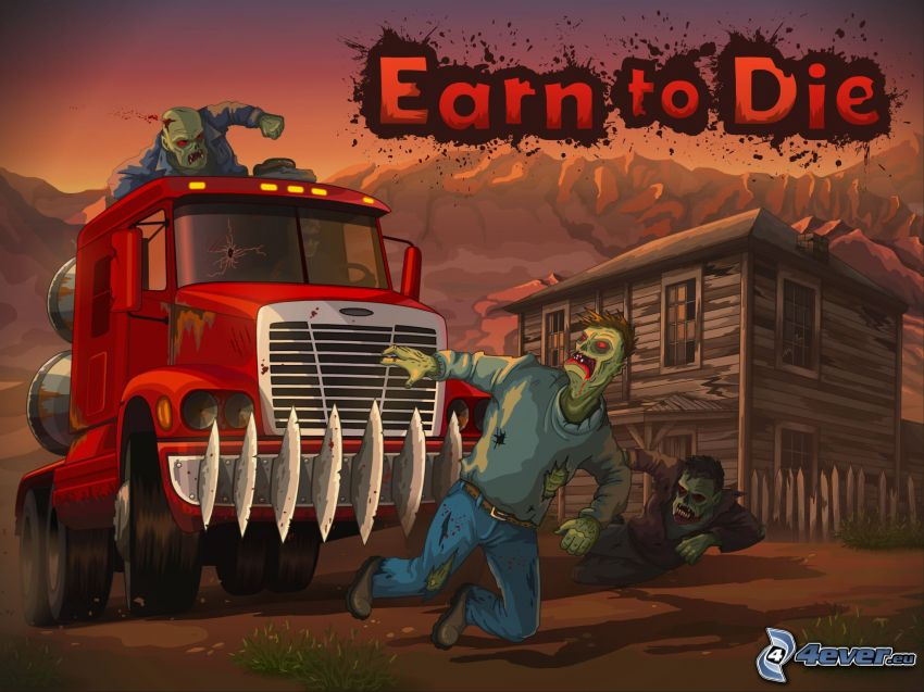 Earn to Die, zombie, camión