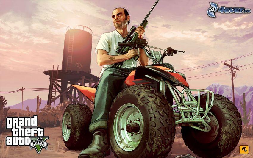 GTA 5, cuatrimoto, hombre con arma
