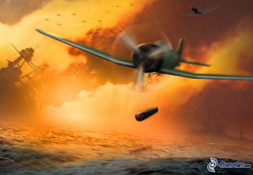 Medal of Honor, avion de caza, mar, torpedo