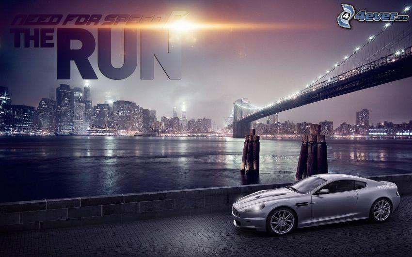 Need For Speed, Aston Martin, puente, ciudad de noche, Brooklyn Bridge