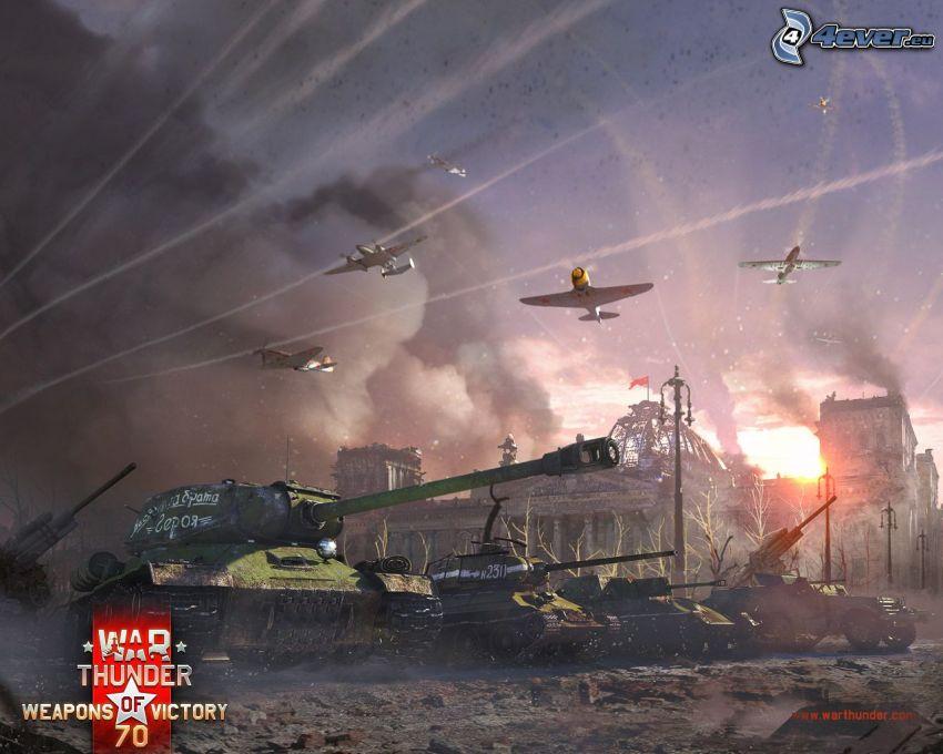 War Thunder, aviones, tanques, ciudad en ruinas, cañón