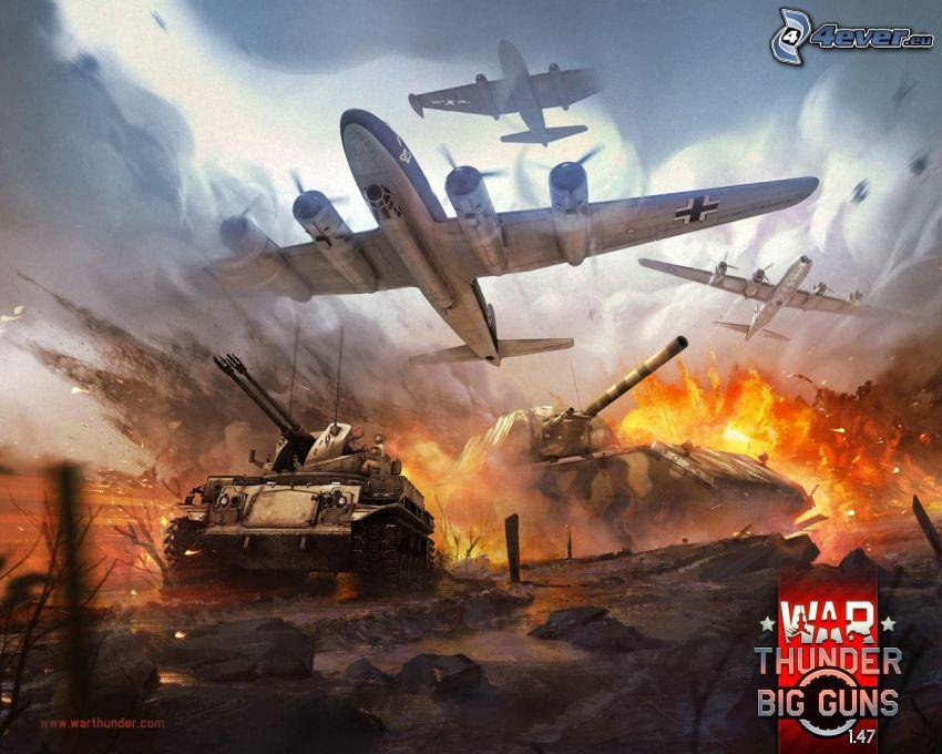 War Thunder, aviones, tanques, explosión