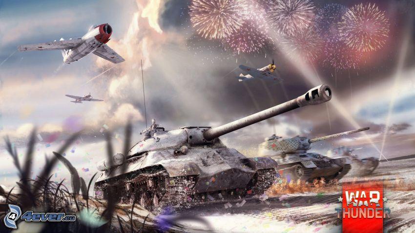 War Thunder, tanques, aviones, fuegos artificiales