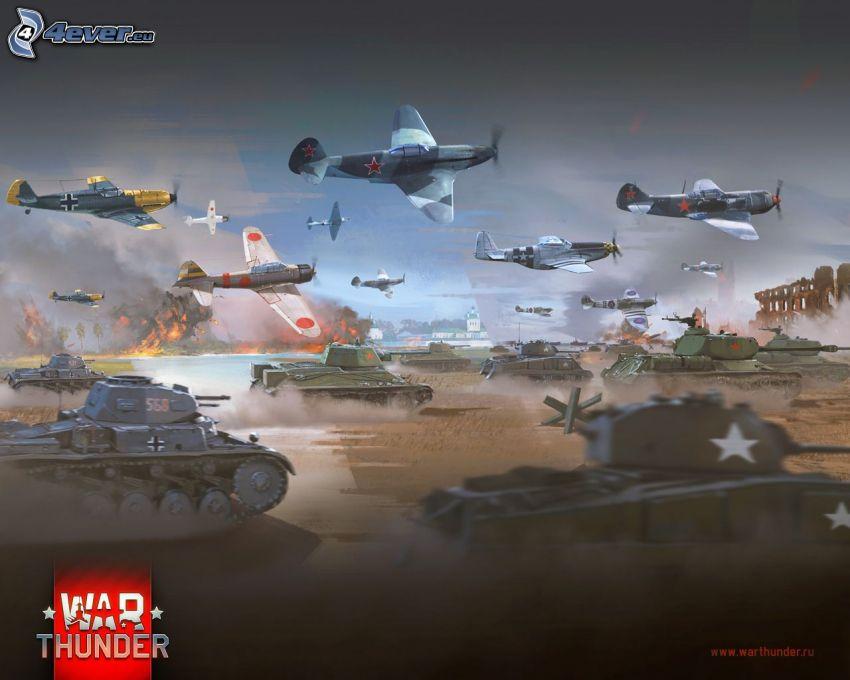 War Thunder, tanques, ejército, aviones