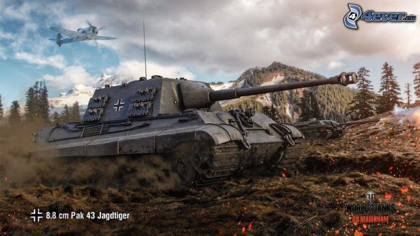 World of Tanks, Jagdtiger, tanque, avión