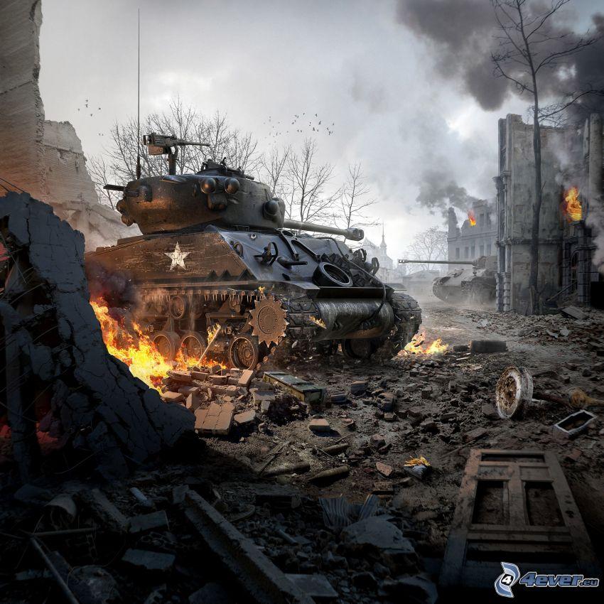 World of Tanks, tanque, ciudad en ruinas