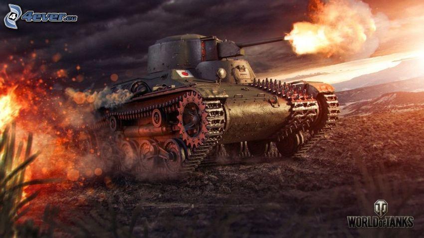 World of Tanks, tanque, disparo, fuego