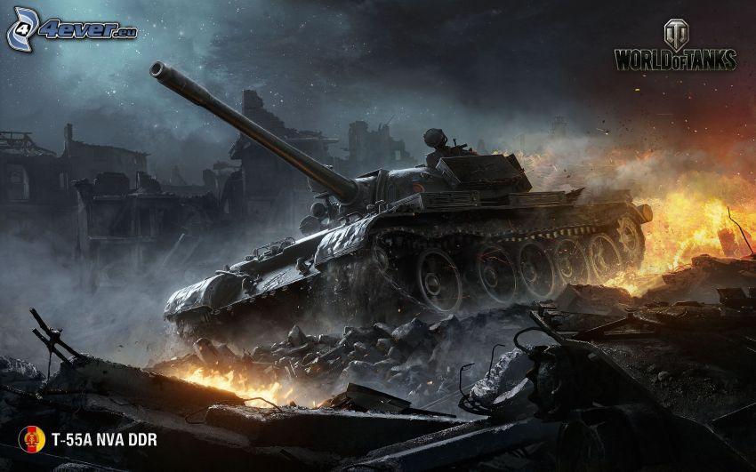 World of Tanks, tanque, fuego, ciudad en ruinas