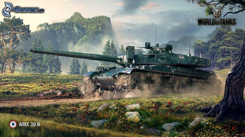 World of Tanks, tanque, montaña, prado