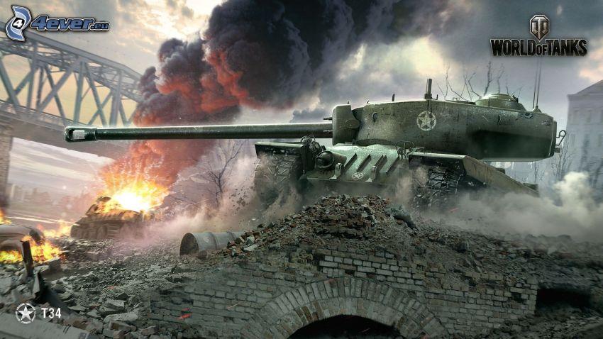 World of Tanks, tanques, disparo, puente