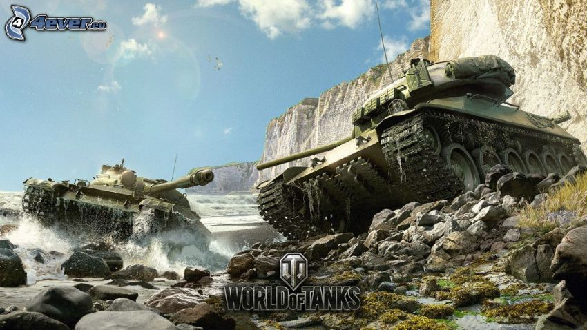 World of Tanks, tanques, río