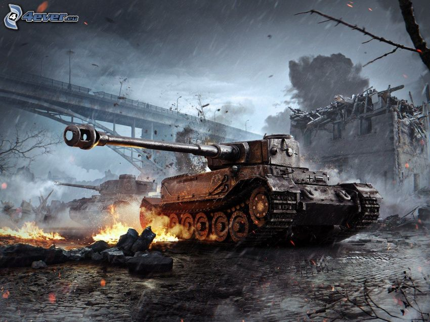World of Tanks, Tiger, tanque, disparo, puente, fuego