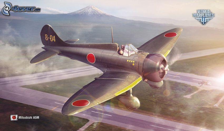 World of warplanes, avión, aeropuerto, montaña