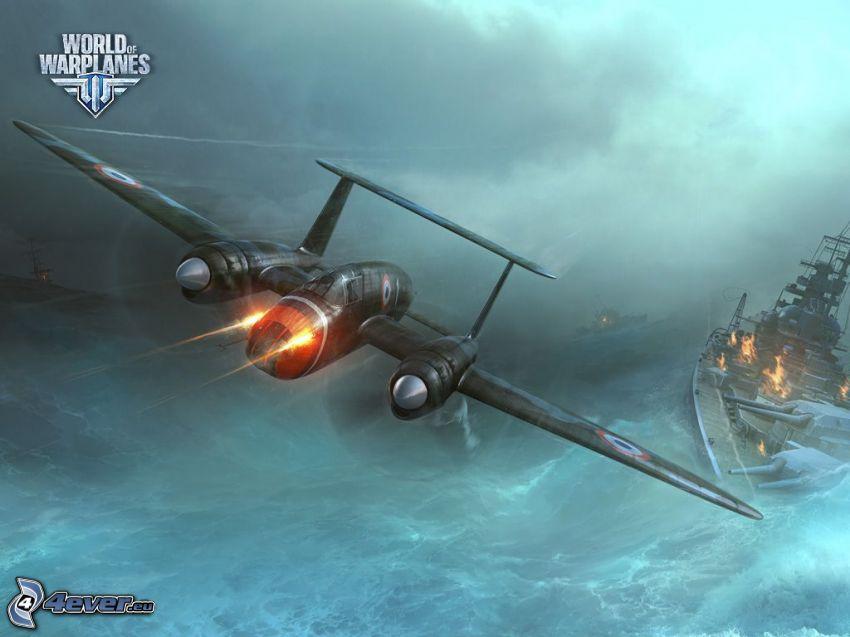 World of warplanes, avión, naves, disparo, mar turbulento