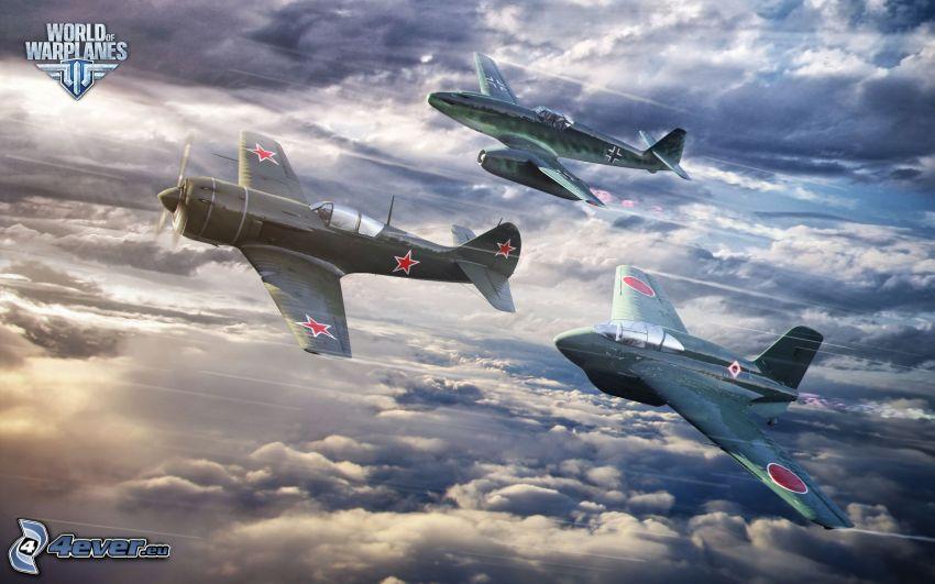 World of warplanes, aviones, encima de las nubes