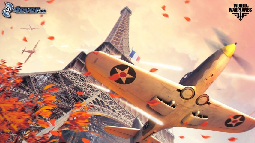 World of warplanes, aviones, lucha, Torre Eiffel