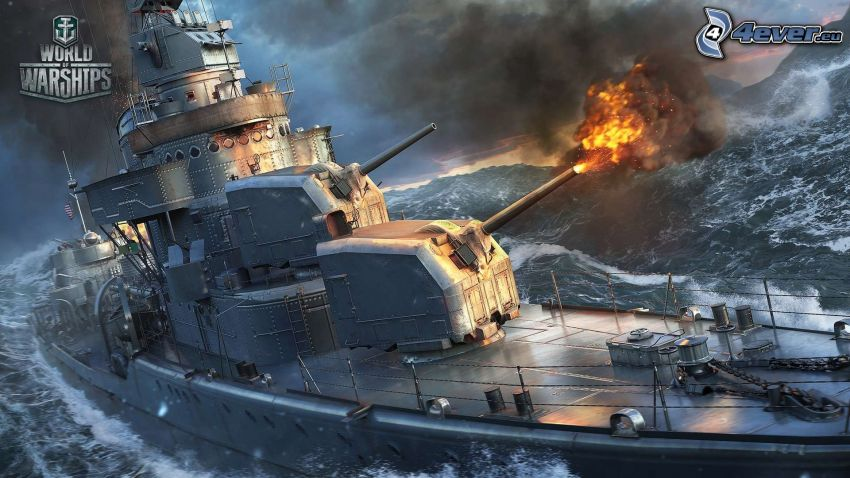 World of Warships, mar turbulento, disparo
