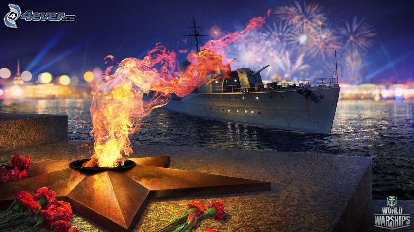 World of Warships, monumento, fuego, nave, fuegos artificiales, flores rojas