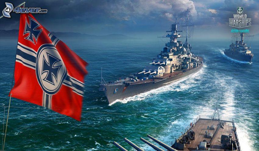 World of Warships, naves, bandera, mar
