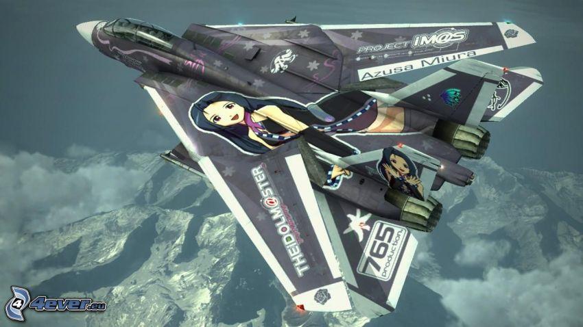 Ace Combat 6, avion de caza, montaña rocosa, caricatura de mujer