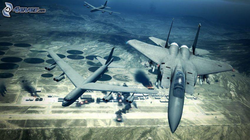 Ace Combat 6, aviones de caza, aeropuerto