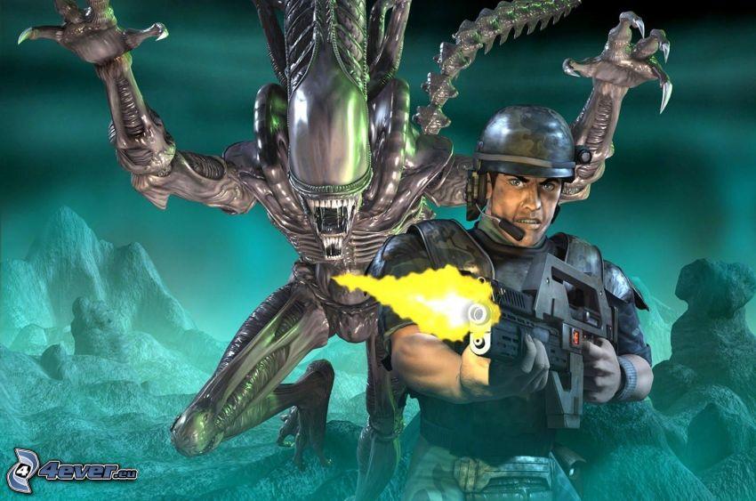 Alien vs. Predator, lanzallamas