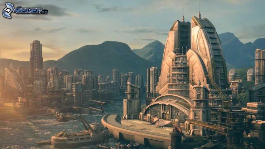 Anno 2070, ciudad ciencia ficción, montañas
