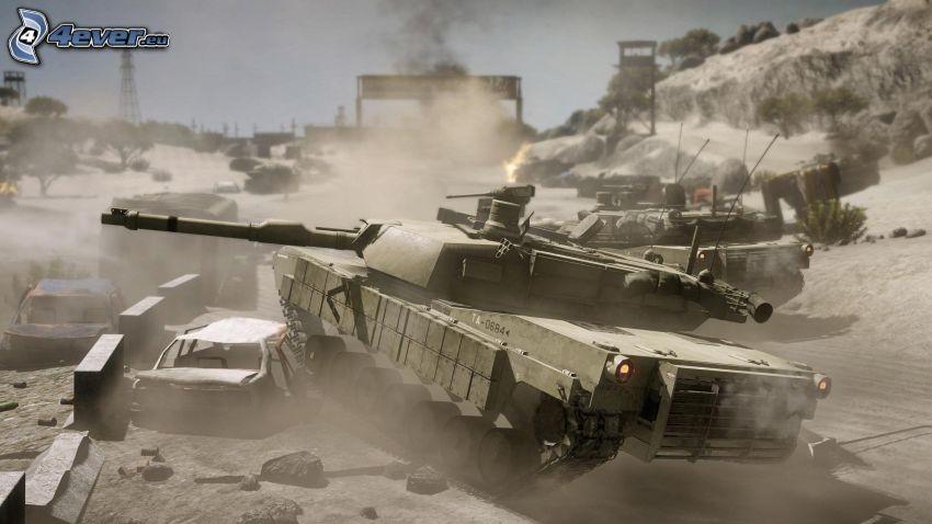 Battlefield 2, tanques, tank vs coche de pasajeros, M1 Abrams