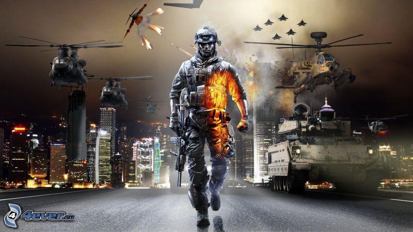Battlefield 3, helicóptero militar, tanques, ciudad de noche