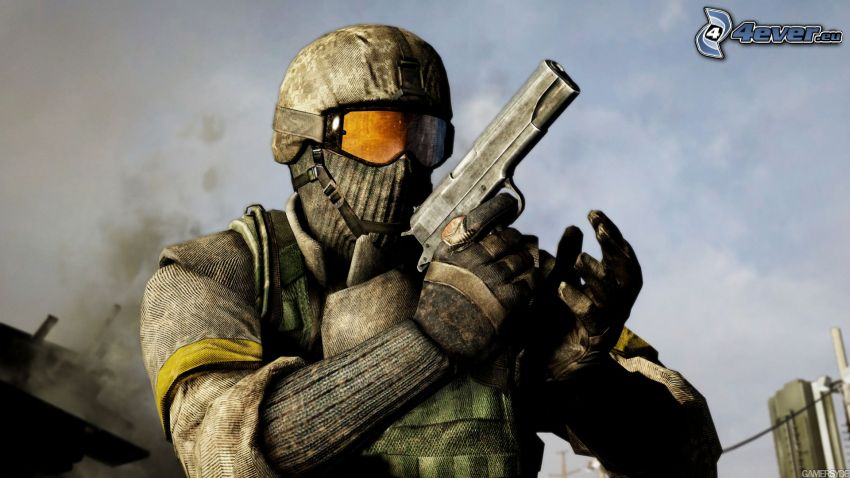 Battlefield: Bad Company 2, hombre con arma