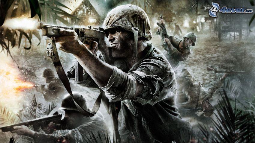 Call of Duty 5, soldado con una pistola