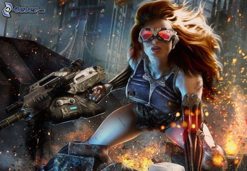 Crysis 4, mujer con arma
