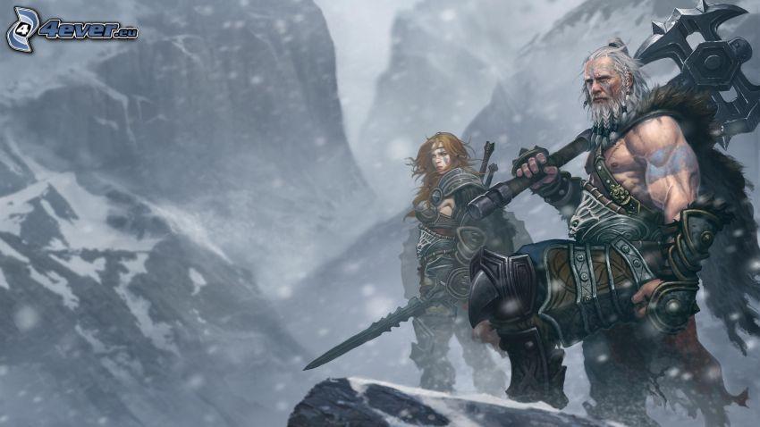 Diablo 3, luchadores, montañas nevadas