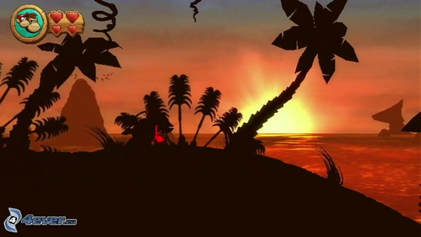 Donkey Kong Country Returns, puesta de sol en el mar, palmeras en la playa