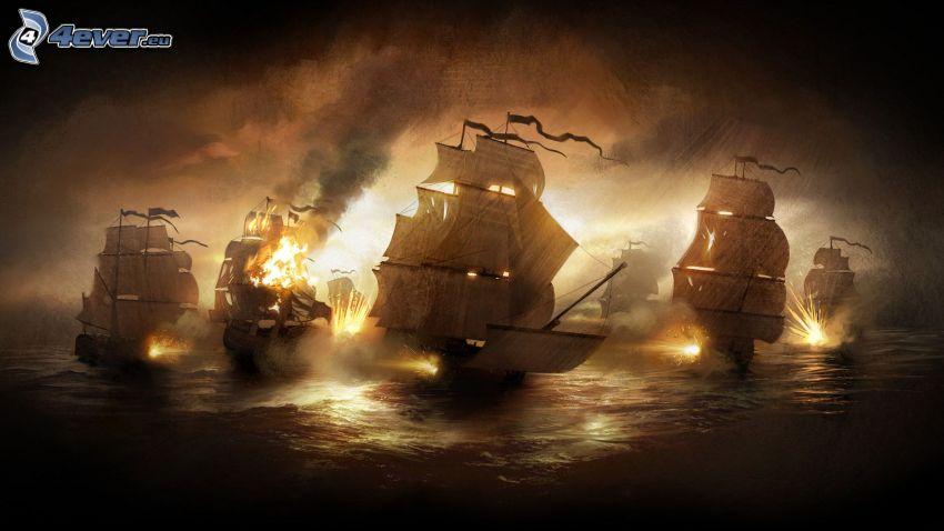 Empire: Total War, naves, noche, disparo