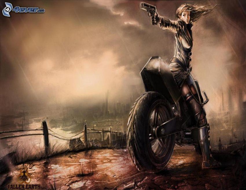 Fallen Earth, mujer con arma, mujer en una motocicleta