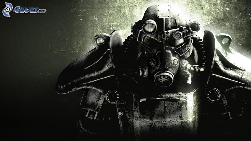 Fallout 4, hombre en máscara de gas